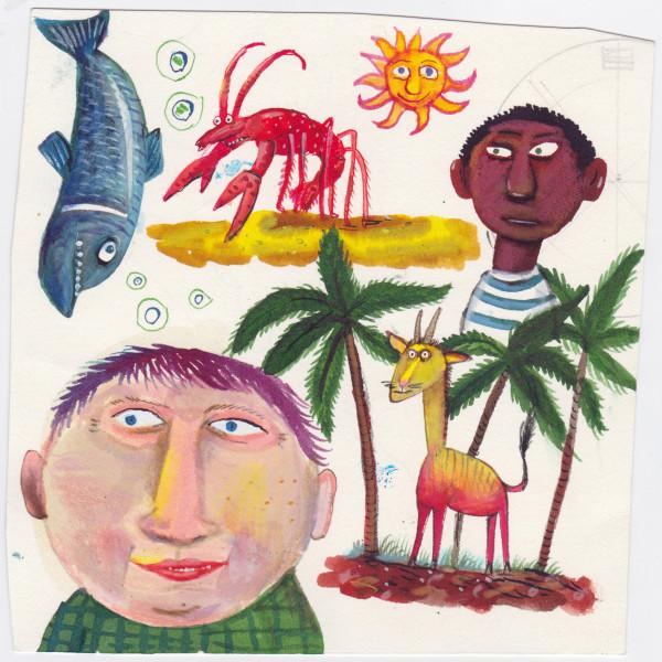 men fish lobster palm illustration