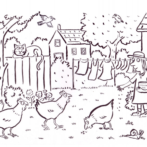 Feeding Chickens illustration